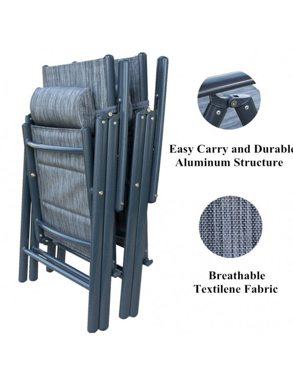 Outdoor Patio 2 Pack Adjustable Textilene Folding Chairs Recliner for Poolside Garden, Grey