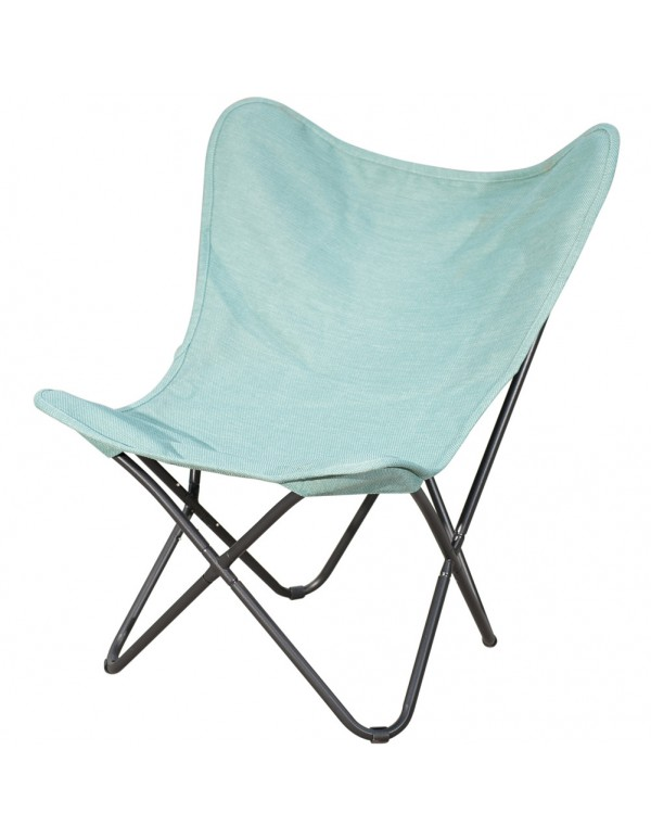 Ourdoor Camping Butterfly Chair with Black Steel Frame and Replacement Cover Home Office Furniture, Blue
