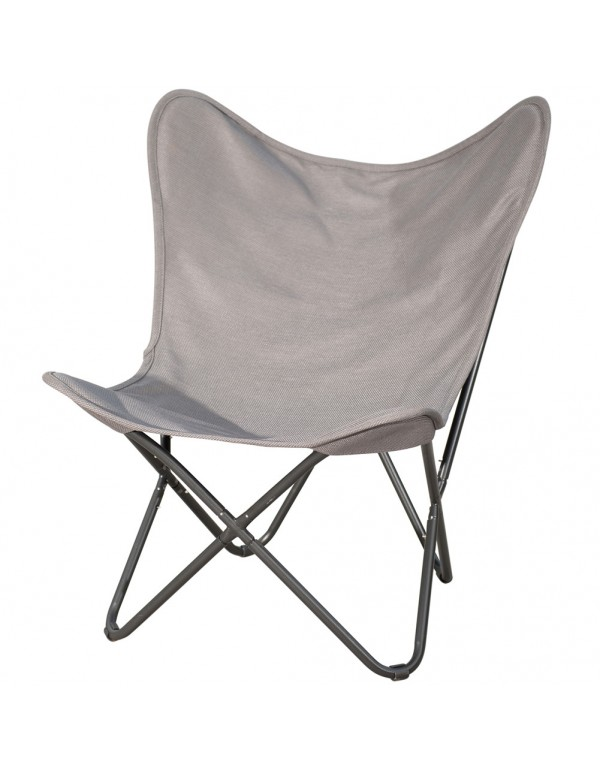 Ourdoor Camping Butterfly Chair with Black Steel Frame and Replacement Cover Home Office Furniture,  Grey