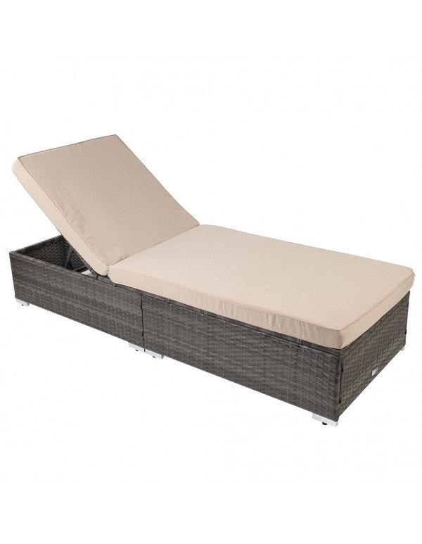 Outdoor Chaise Lounge Rcliner Collection with Plush Cushions, Beige/Gray