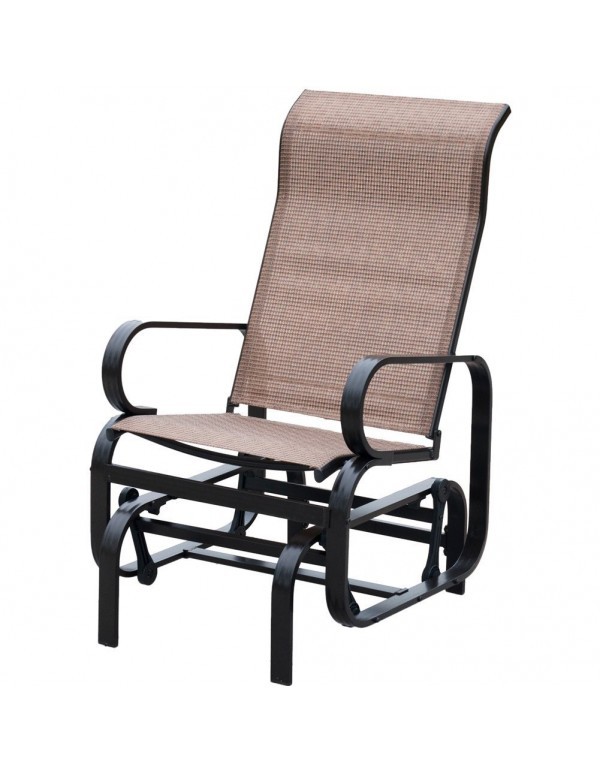 Outdoor Patio Textilene Mesh Fabric Sling Glider Chair , Brown