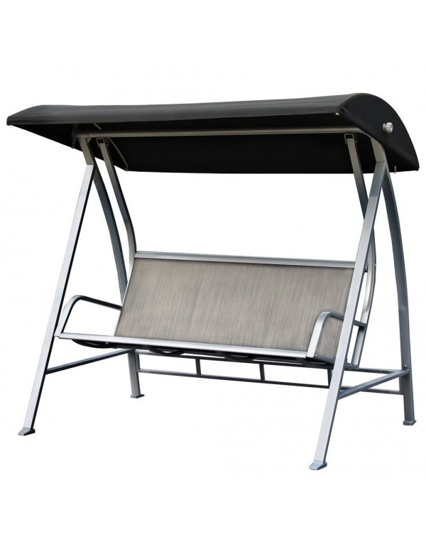 Outdoor Textilene 3 Seats Porch Patio Swing Lounge Chair