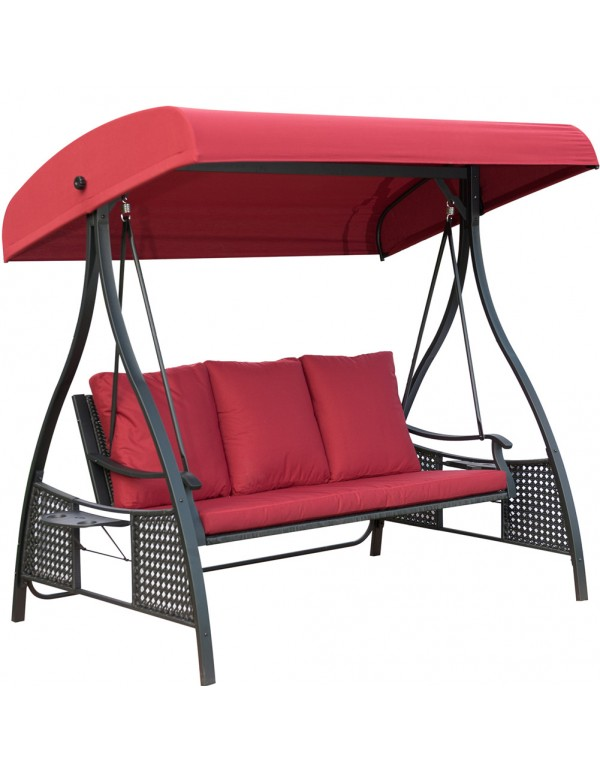 Outdoor 3 Seats Porch Patio Padded Swing Chair Swing Hammock Glider with Steel Powder Coated Frame, Red