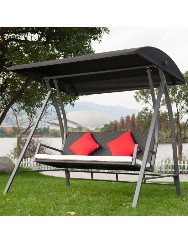 Outdoor 3 Seats Porch Patio PE Wicker Swing Chair with Steel Powder Coated Frame, Black