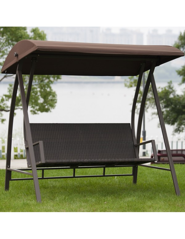 3 Seats PE Wicker Porch Patio Swing Chair with Steel Powder Coated Frame, Dark Brown