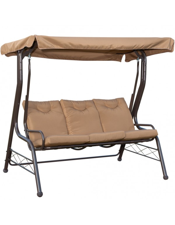 Outdoor 3 Seats Porch Patio Padded Swing Hammock Glider Swing Chair With  Steel Powder Coated Frame, ...
